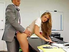 Bus, Secretary, Boss gets anal from secretary, Drtuber