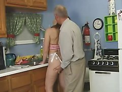 Kitchen, Old Man, Japanese old man sex with milf, Xhamster