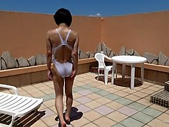 Crossdresser, Swimsuit, Dress, Swimsuit and short pink skirt, Xhamster