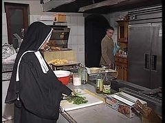 Nun, Kitchen, German, Ass, Nun with cross, Xhamster