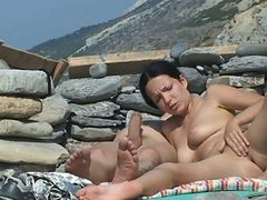 Couple, Beach, Mature in beach, Xhamster