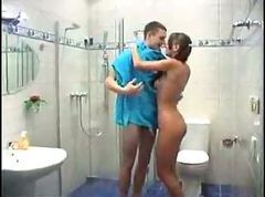Teen, Shower, Snal shower threesome, Gotporn