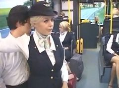 Bus, Stewardess, Stewardess blonde, Tube8