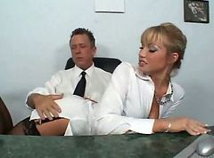 Secretary, Nylon, Busty blonde secretary, Drtuber