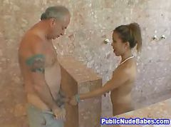Asian, Blowjob, Public, Shower, Hidden camera shower, Gotporn